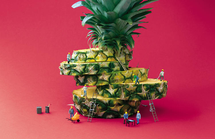 Stacked Pineapple Slices with Toy Figures Climbing